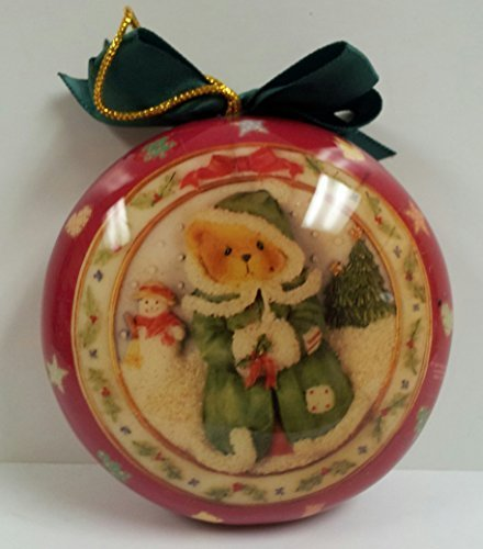 Cherished Teddies Christmas Ornament - 1996'- Red - Teddy with Snowman