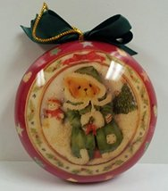 Cherished Teddies Christmas Ornament - 1996'- Red - Teddy with Snowman - $12.99
