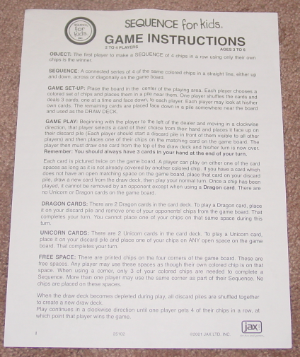 Sequence For Kids Game 2001 Jax Complete And 50 Similar Items