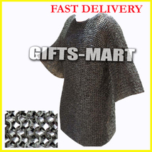 New Year Presents Stainless Steel Chain Mail Shirt XL Full Flat Riveted Ag3 - $530.00