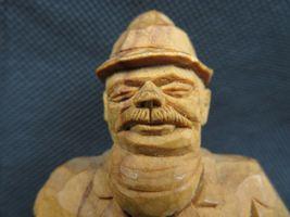 Antique 1900 German Black Forest Carved Wood Figural real Horns Hook Rack image 4