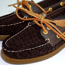 Sperry Top Sider Womens Boat Shoes 5 Brown Suede Woven Slip On 2 Eye 909... - $34.60