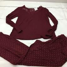Charter Club Lace-Trim Top & Printed Pants Pajama Set, Red, Small - $18.61