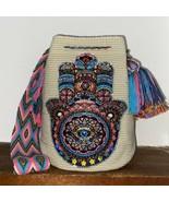 Authentic 100% Wayuu Mochila Colombian Bag large Size Beige hamsa protec... - $120.00