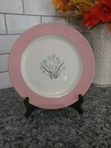 "Homer Laughlin Cavalier Springtime 10"" Dinner Pink Rim Plate Blue Tan Fl... - $19.90"
