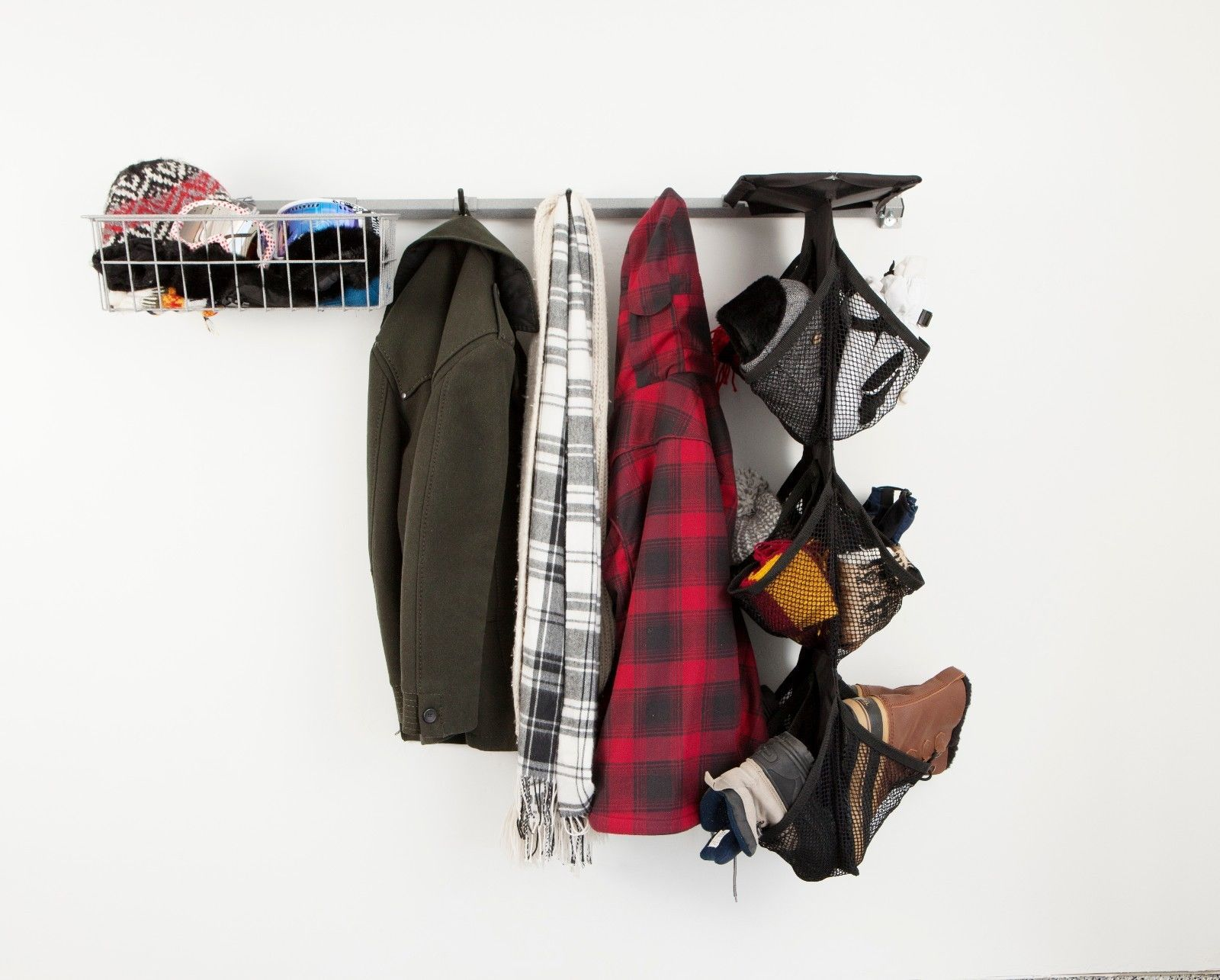 Wall Mounted Garage Shoe Storage Rack And Coat Hat And