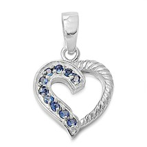 Sterling Silver CZ Heart pendant Round cut Sapphire Love Anniversary New d80 - $13.44