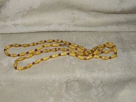"""Vintage 1960s Faux Bamboo & Amber 50"""" Necklace Goldtone Beads - $35.00"""