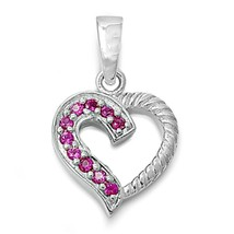 Sterling Silver CZ Heart pendant Round cut Ruby Red Love Anniversary New d81 - $13.44