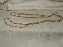 "Vintage 1950s-60s NAPIER 60"" Necklace Goldtone Beads Brushed LIned Ribbe... - $35.00"