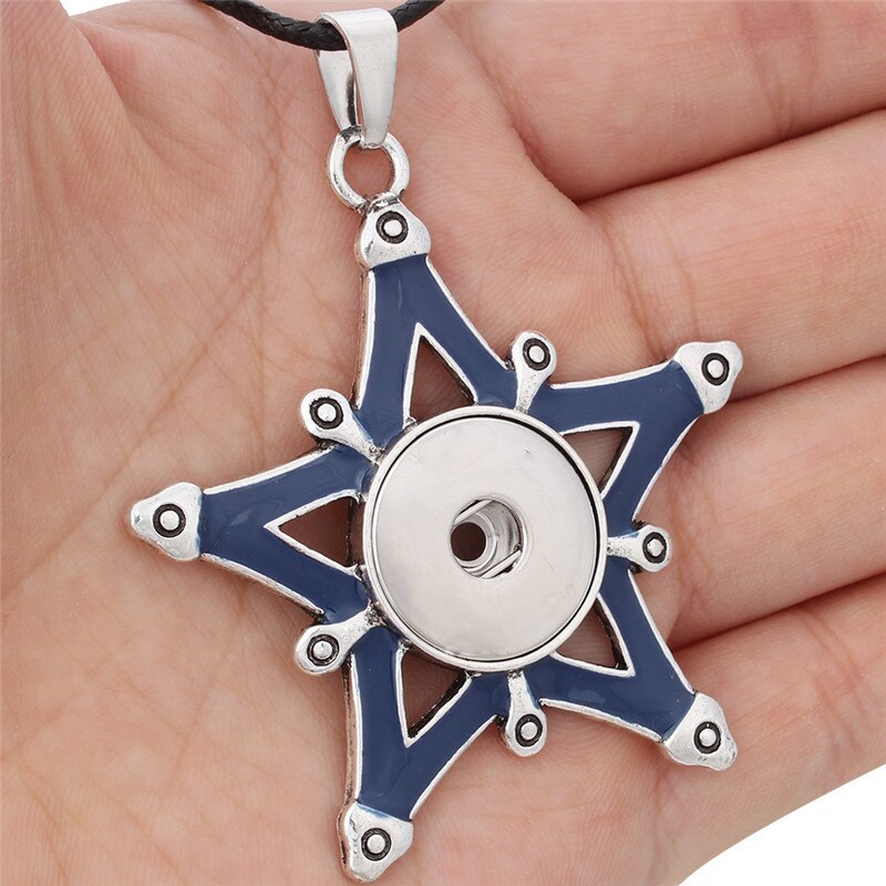 New Styles Metal Star 18mm Snap Button Necklaces & Pendants Snap Jewelry DIY Jew image 5