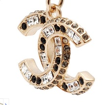 AUTHENTIC Chanel Classic CC Logo 2 Tone Crystal Necklace Pendant Gold image 4