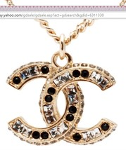 AUTHENTIC Chanel Classic CC Logo 2 Tone Crystal Necklace Pendant Gold image 3