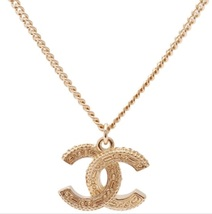 AUTHENTIC Chanel Classic CC Logo 2 Tone Crystal Necklace Pendant Gold image 7