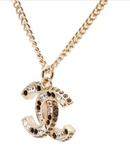 AUTHENTIC Chanel Classic CC Logo 2 Tone Crystal Necklace Pendant Gold image 5