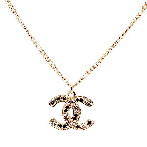 AUTHENTIC Chanel Classic CC Logo 2 Tone Crystal Necklace Pendant Gold