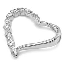 Sterling Silver Delicate CZ Heart pendant New Love Anniversary d93 - $25.04