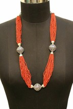 Red Coral Necklace 15 Multi Strand Semi Precious Jewelry for Women - $33.65