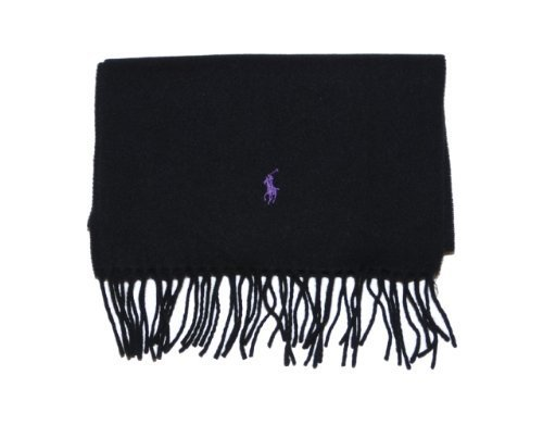 Polo Ralph Lauren Mens Lambswool Logo Scarf - Made in Italy (Black)