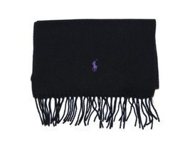 Polo Ralph Lauren Mens Lambswool Logo Scarf - Made in Italy (Black) - £92.82 GBP