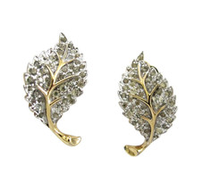 Vintage Jomaz Gold Tone & Pave Rhinestone Leaf Earring Clips - $75.00