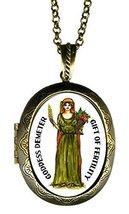 """Goddess Demeter Huge 2 1/2"""" Natural Solid Perfume Locket Pendant Gold Br... - $29.95"""