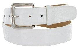 Valley View Women's Designer Leather Dress Belt (Alligator White, 46) - $29.69