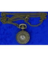 Zodiac Pocket Watch Necklace Bronze Color Astrology Clock Fashion Wear - $8.49+