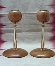 Vintage Mid Century Modern Turned Wood & Metal Taper Candle Holders - $14.00