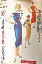 Vtg Wiggle 50S Pattern Simplicity #1301 Size 14 Bust 32 Dress & 4 Way Ju... - $15.47