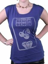 Bench UK Femmes Lyme Bleu Fente Machine Cerise Diamant T-Shirt BLGA2340 Nwt