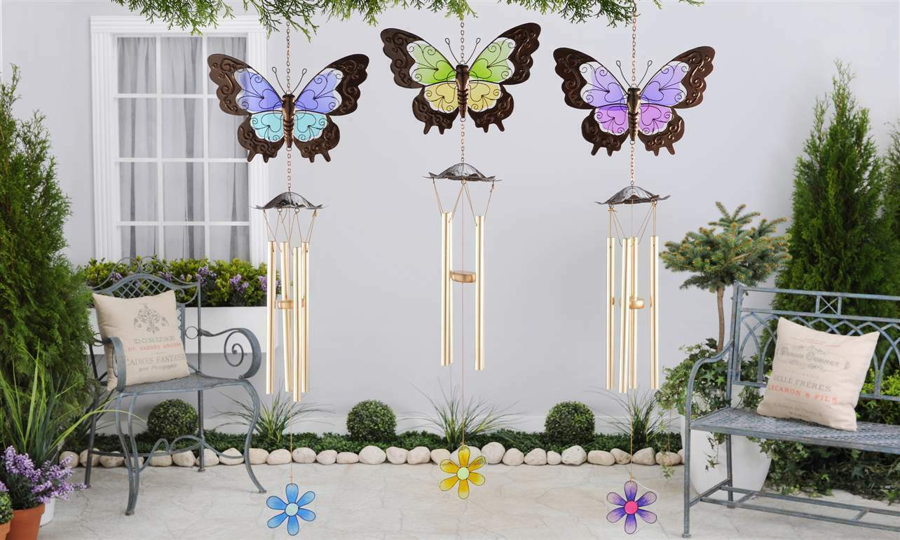 "38"" Butterfly Iron & Glass Windchime - Choice of Color Blue, Green, Purple NEW"