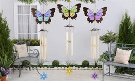 "38"" Butterfly Iron & Glass Windchime - Choice of Color Blue, Green, Purple"