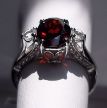 2.54Ct Red Garnet Sterling Silver Ring, Size 7, Certificate - $55.00