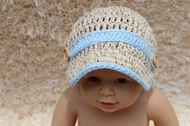 Handmade Beige Blue Knit Baby Brimmed Hat Cap Newsboy Cap Newborn Photo ... - $6.99