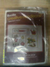 "VINTAGE BUCILLA CREWEL EMBROIDERY STITCHERY KIT VEGETABLE PATCH 22"" X 28"" - $10.25"