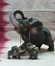 Vintage Mother Elephant with Two Baby Elephants on Chain Figurine - $10.00