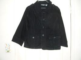 Motto Your Style Mantra Black Denim Jacket 3/4 Sleeve Size Large NICE! - $11.99