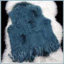Blue Dyed Genuine Real Rabbit Fur Knitted Vest Fun Fashion Furs Wear w/Anything image 2