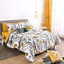 Mustard Flowers Reversible Comforter Queen Size Soft and Fresh 4PCS - $172.26