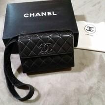 Auth CHANEL Shoulder Bag Black Matelasse Vintage Logo Flap Pouch Medium ... - $1,178.10