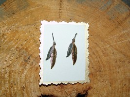 HANDCRAFTED SILVER & GOLD FEATHER EARRINGS (Whe... - $4.00