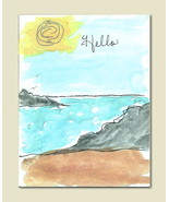Handmade Watercolor Card Hello Friendship Greeting Introduction  - $4.25
