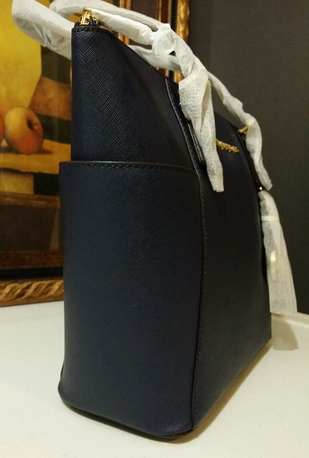 NWT MICHAEL KORS Jet Set East West Top Zip Saffiano Leather Tote Bag Navy