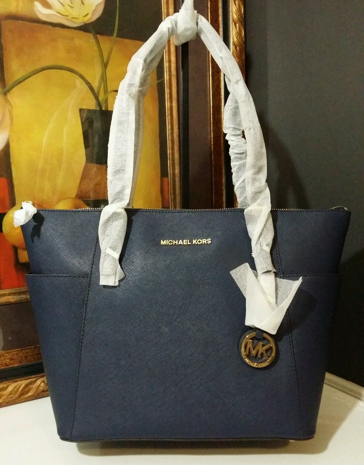 NWT MICHAEL KORS Jet Set East West Top Zip Saffiano Leather Tote Bag Navy