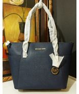 NWT MICHAEL KORS Jet Set East West Top Zip Saffiano Leather Tote Bag Navy - $217.55