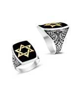 Jewish David Star Ring in 925 Sterling Silver 14k White Gold Plated Blac... - $70.85