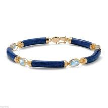 WOMENS 18K GOLD OVER STERLING SILVER LAPIS LAZULI BLUE TOPAZ LINK BRACELET - $294.03 CAD