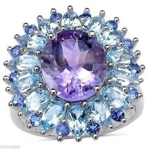 WOMENS STERLING SILVER  AMETHYST BLUE TOPAZ TANZANITE   RING 6 7 8 9 - £326.92 GBP