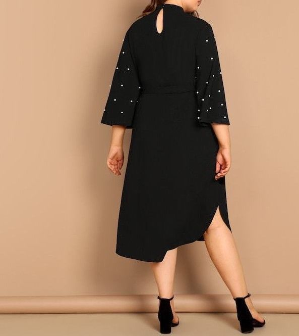 Mock Neck Keyhole Back Flounce Sleeve Pearl Detail Belted Tunic Dress Plus Size